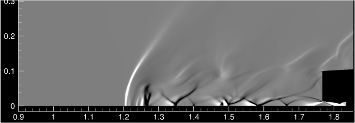 Numerical density gradient contours for diameter ratio of 1/8 at a nozzle total pressure of 11 atm