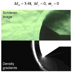 Comparison of experimental schlieren image and numerical pressure gradients without counterflowing jet