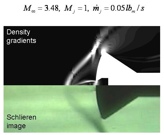 Comparison of experimental schlieren image and numerical pressure gradients with Mach 1 counterflowing jet, flow rate 0.05 lb/s