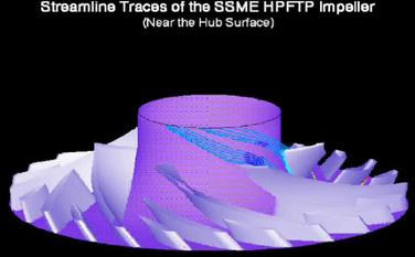 streamline traces around the hub of an impeller